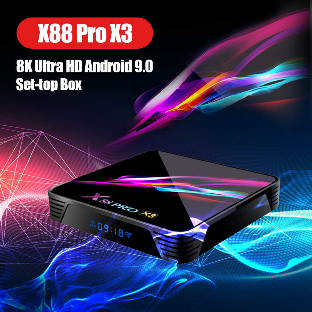 X88 Pro X3 8K Tv Box Amlogic S905X3 Quad-Core 64bit 4K @ 60fps 4G 128G android 9.0 Set-Top Box Smarttv Box