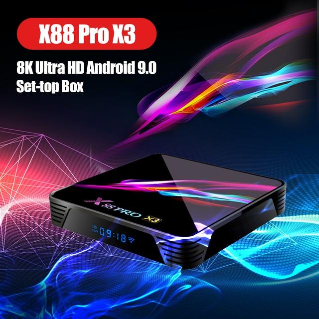X88 pro x3 8k caixa de tv amlogic s905x3 quad core 64bit 4k @ 60fps 4g 128g android 9.0 conjunto caixa de topo smarttv