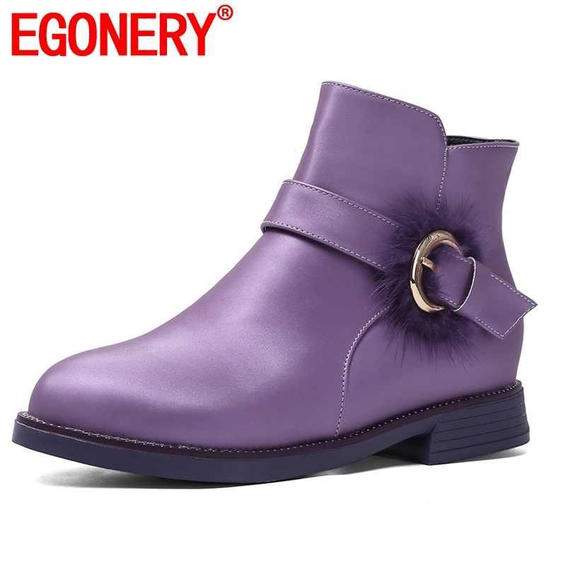 EGONERY sevimli kadın flats ayakkabı kış 32-39 boyutu fermuar kadın patik mor pembe kırmızı yuvarlak ayak yarım çizmeler damla nakliye