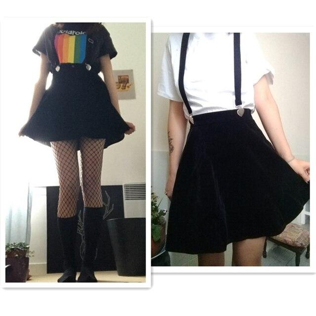 Women'S Skirt Harajuku Velvet Punk Love Clip Strap Skirt For Female Ladies Mini Skirts Black 6