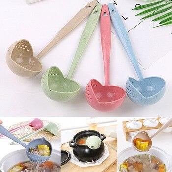 1 PCS Creative 2 in 1 Spoon Strainer Long Handle Soup Spoons Cute Tableware Cooking  Plastic Ladle Tableware