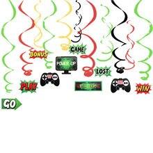 Jogar jogos tema pendurado redemoinho decorações espiral diy ornamentos para crianças crianças aniversário vídeo game festa suprimentos
