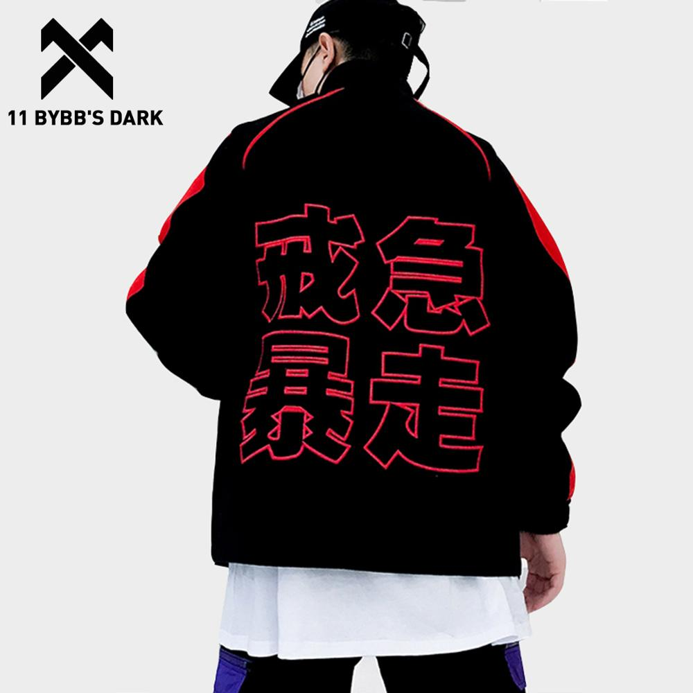 11 BYBB'S DARK Chinese Letter Embroidery Bomber Jackets Men Hip Hop Track Windbreaker Fashion Casual Streetwear Baseball Jacket