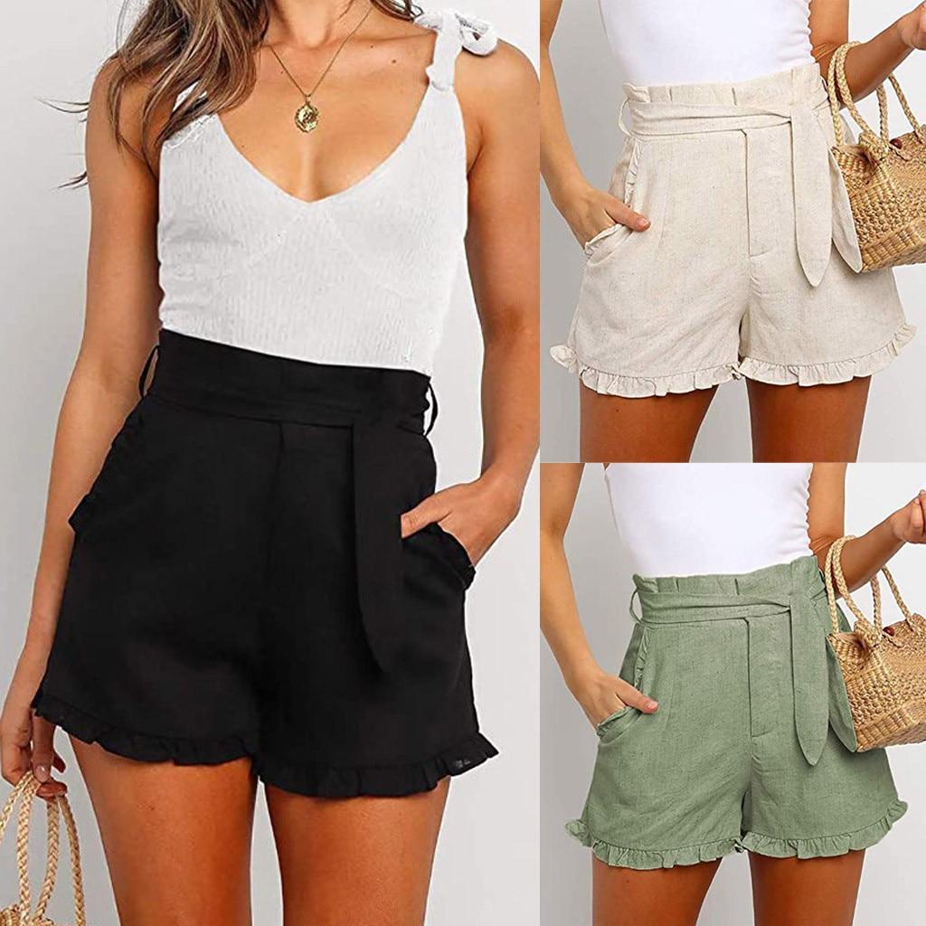 2020 New Womens Side Pocket High Waist Ruffle Shorts Summer Casual Beach Bottom Shorts