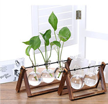 1XWood Glass Tabletop Plant Bonsai Flower Glass Vases With Wooden Tray Home Tool(China)