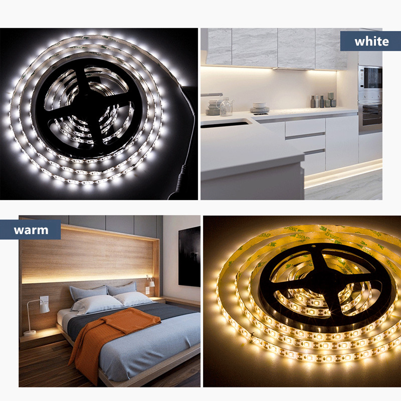 Smart Led Strip Light with Tape PIR Motion Sensor Lamp Dimmable Wardrobe Kitchen Cabinet Stair Night Light Battery or USB Power image