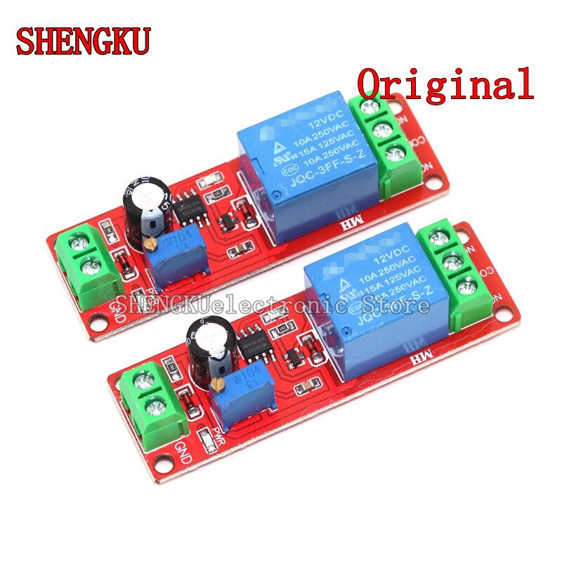 Реле задержки времени Регулируемый модуль NE555 моностабильный переключатель экранирования задержка питания 0 ~ 10 с 12 В постоянного тока