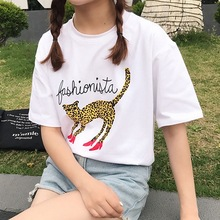 Summer new womens student loose short-sleeved round neck pullover cartoon cat T-shirt casual fashion shirt