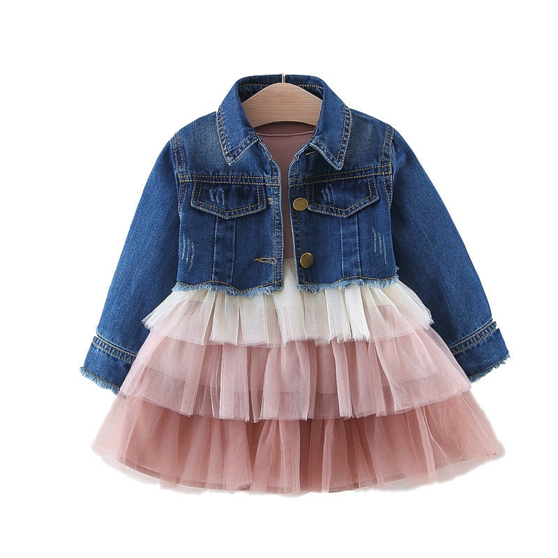 Image 5 - Alice 2019 Girls  dress denim top suit childrens spring and autumn princess cake mesh dress clothing sets kids clothesClothing Sets   -