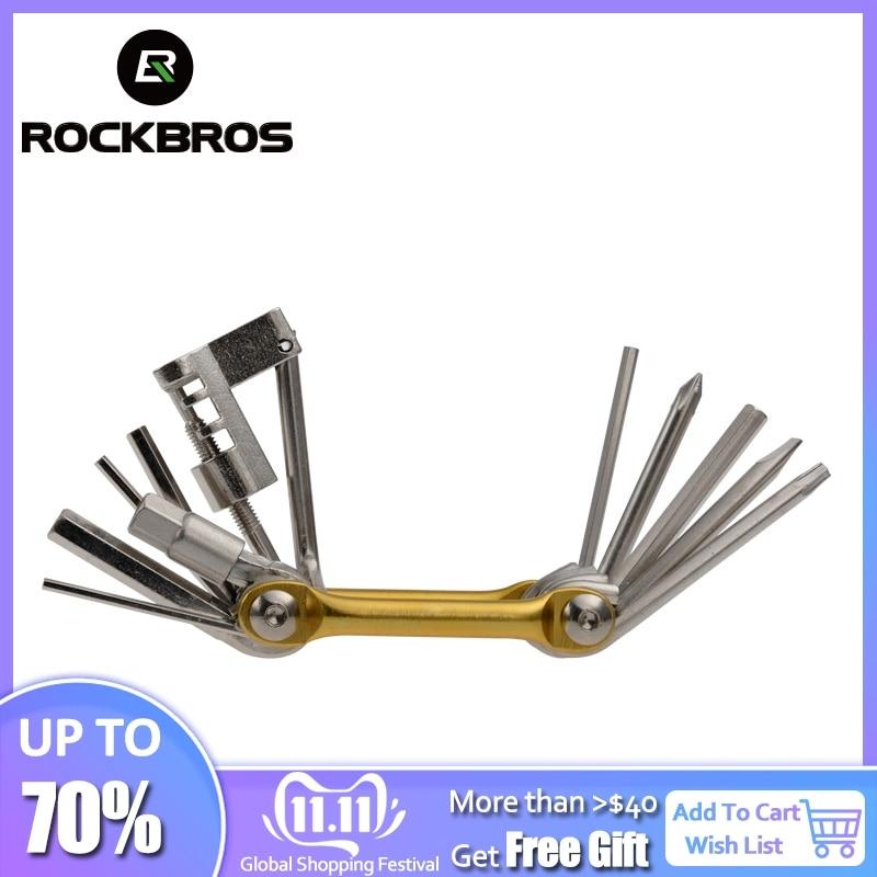 Rockbros ciclismo cr-mo metálico bicicleta multi-função mini bolso ferramentas kits de reparação de bicicletas ferramentas conjunto kit 6 hex abridor