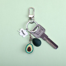 2019 New Simulation Fruit Avocado Heart-shaped Key chain Fashion Jewelry Gift For Women pendant accessories kids key Ring