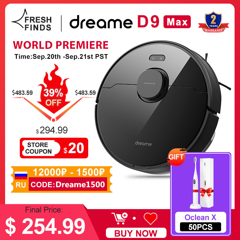 Dreame Bot D9 Max Robot Vacuum Cleaner For Home Superb LiDAR Navigation, 4000Pa Suction ,Smart Alexa Support, 570ml Dust Tank