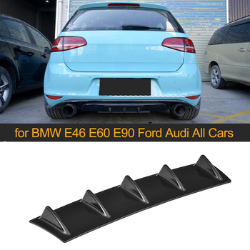 Universal Rear Bumper Lip Diffuser 5 3 Fin Shark Fin Carbon Look Glossy Black ABS Diffuser Spoiler ABS Plastic image