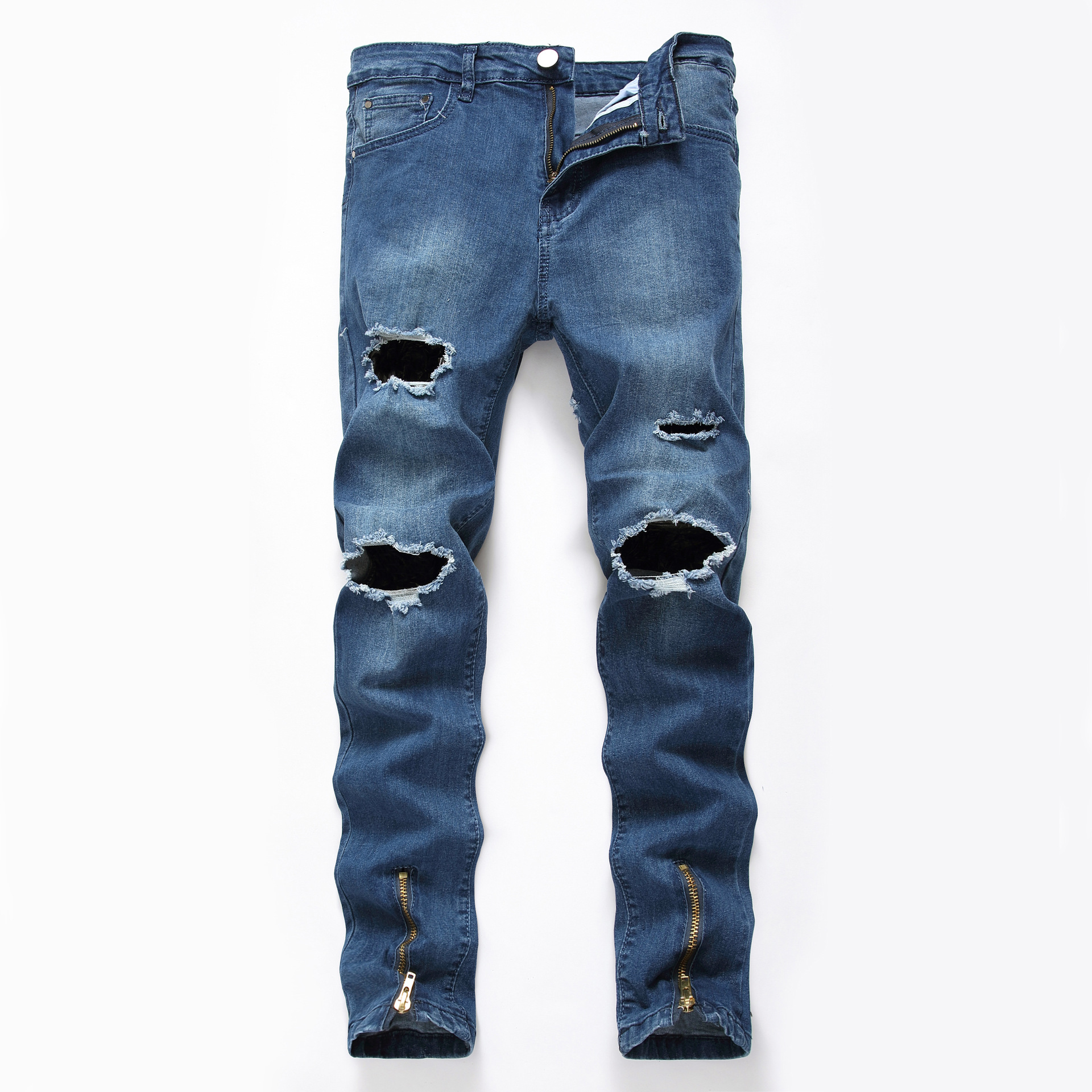 North America Men'S Wear Ripped Pants Feet Zipper Jeans Elasticity Tight Slim Fit Europe And America Skinny Men Cowboy Blue Pant