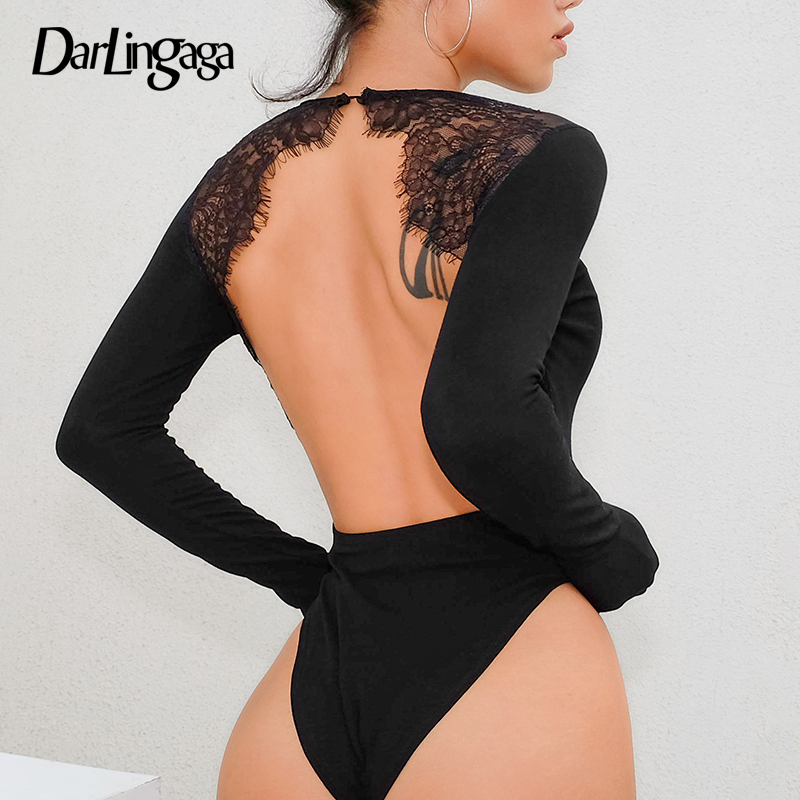 Darlingaga Backless Lace Patchwork Sexy Bodysuit Women Long Sleeve Body Suit One Piece 2020 Spring Black Bodysuits Jumpsuit Slim