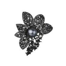 Gariton Retro Style gun Black Rhinestones Brooches & Pins Simulated Pearl Leaf Shape Brooch For Women Vintage Scarf Jewelr