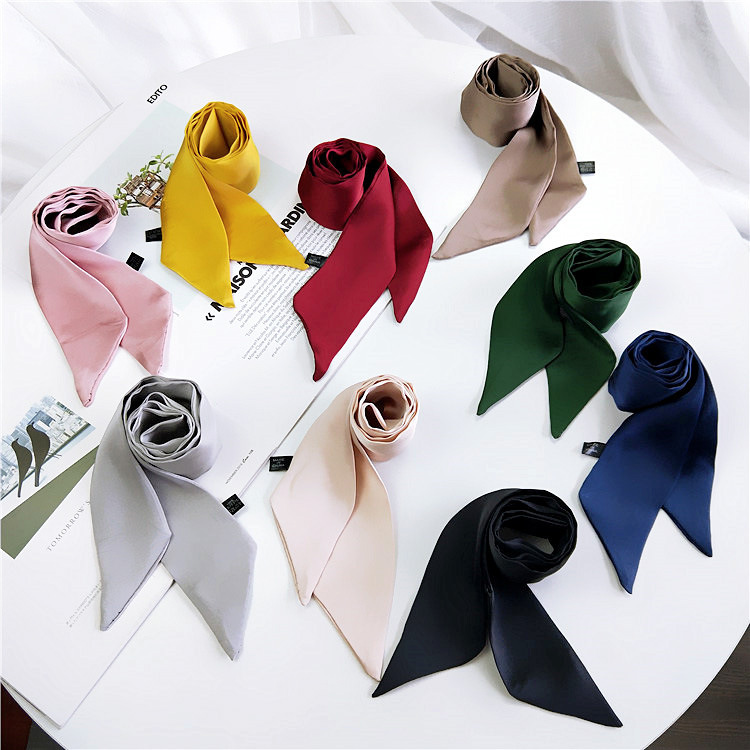 Solid Color Small Silk Neckerchief Women's Spring And Autumn Summer Tied Bag Wrapped Handle Ribbon Versatile Wrist Ribbon New St