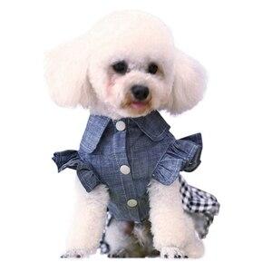 Джинсовая юбка для домашних животных, платье весенне-летняя ковбойская Одежда для собак и кошек, платье с бантом и рукавами-фонариками для м...