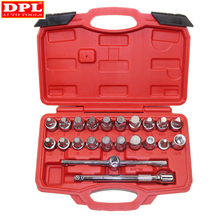 22PCS Oil Drain Pipe Plug Socket Set Screws Removal Tool Triangle Square Hexagon T bar Remover Sleeve Special Tools