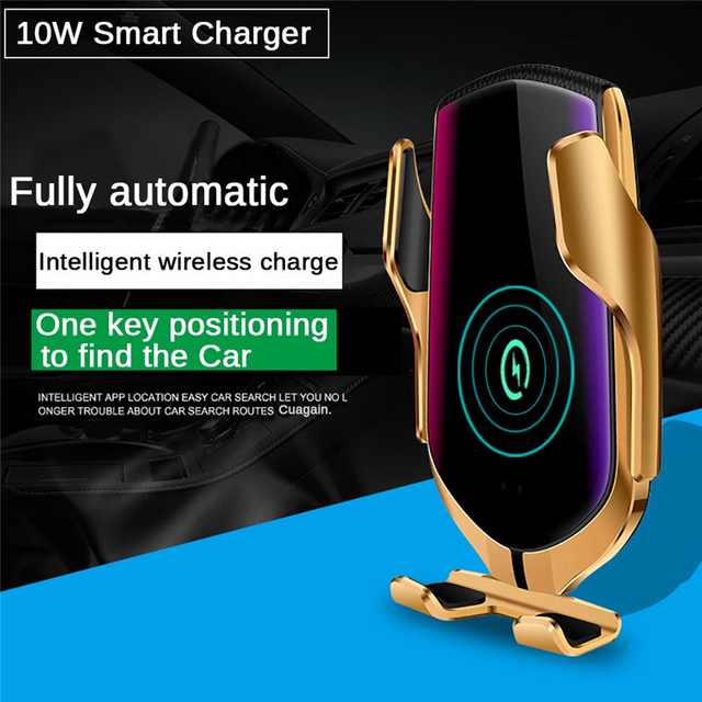Automatic Clamping Infrared Auto Induction QI Car Wireless Charger Stand Fast Charging for IPhone 11 Pro Max XS Samsung S10 S20 4