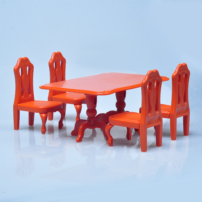 HOT 1:12 Sylvanianed Family Dining Table Figure Bath Room Set Doll House Mini Furniture DIY Pretend Toy