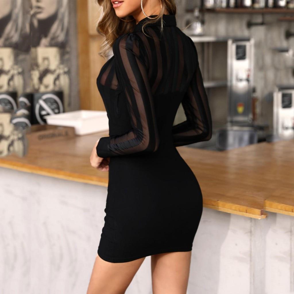 Work Dress Women Long Sleeve Sheer Striped Mesh Patchwork Bodycon Office Dress Solid Neck Sukienki