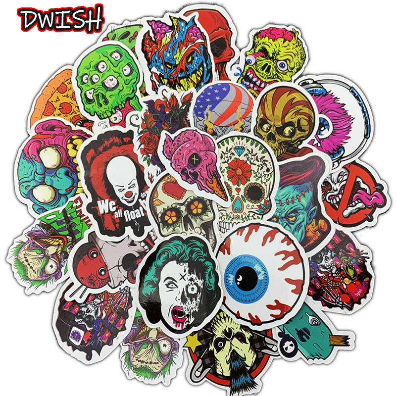 50pcs/Pack Personality Skull Funny Stickers Skateboard Guitar Suitcase Motorcycle Children Graffiti Sticker Kid Classic Toy
