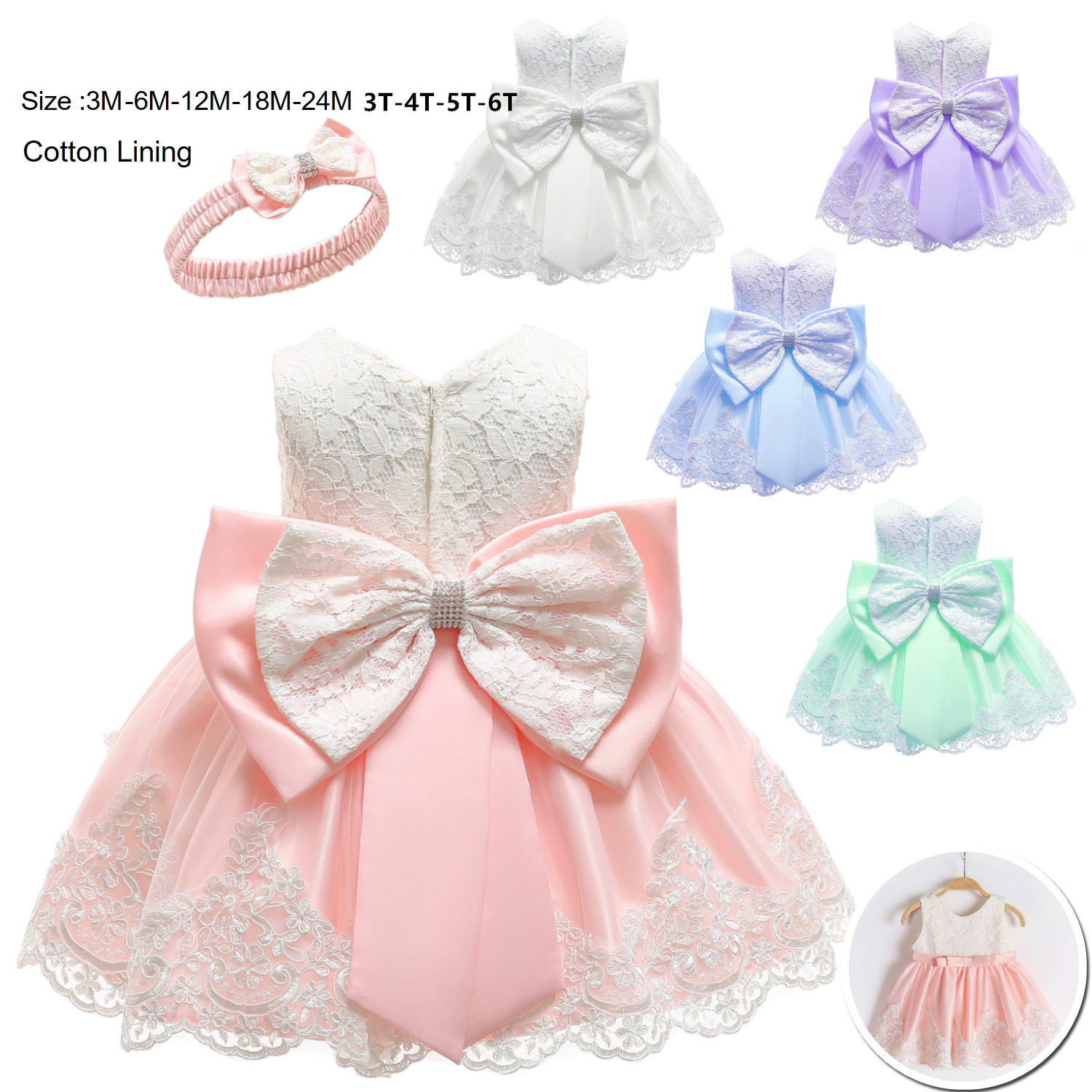 Baby Girl Christening Party Tutu Dress Ruffle Bows Wedding Formal Prom Gown Xmas