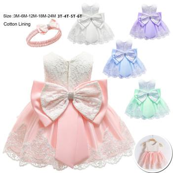 2019 New Baby Dress Lace Bow Christening Gowns Baptism Clothes christmas dress for baby Girls Birthday Princess Infant Party crochet christening dress crochet baptism dress
