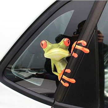 Hot Sale 1pc 3D Cartoon Peep Frosch Peep Frosch Cool Car Stickers Funny Car Decals Window Graphics Stickers image