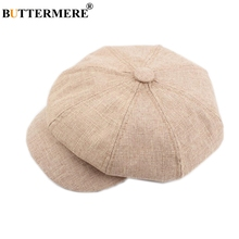 BUTTERMERE Men Newsboy Hat Linen Octagonal Cap Spring Casual Khaki Cotton Gatsby Driver Beret Brand Ladies 2019 New Flat Caps
