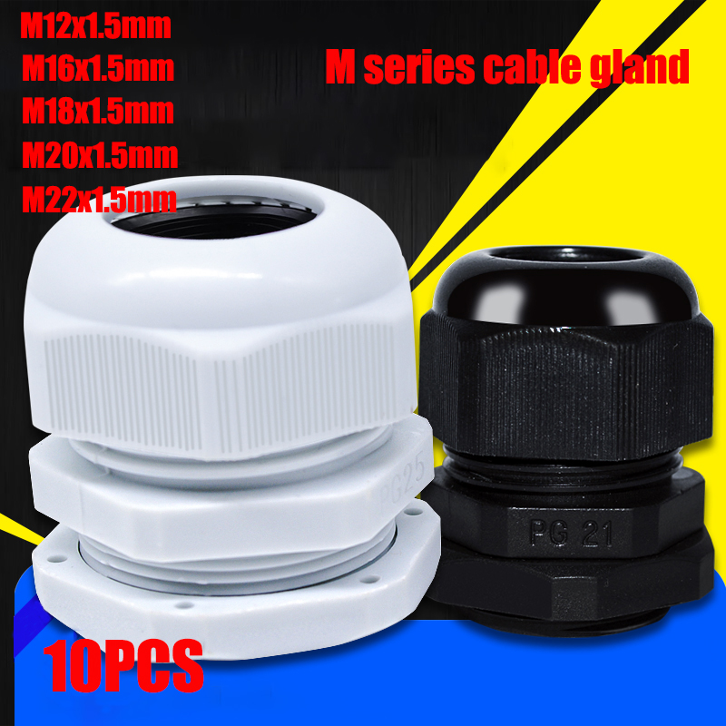 10pcs/lot IP68 M12x1.5 For 3-6.5mm M16x1.5 M20x1.5 M22 Wire Cable CE White/Black Waterproof Nylon Plastic Cable Gland Connector