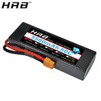 HRB-batería Lipo 2S, 7,4 V, 5500mah, 50C, XT60 T, Deans, EC5, XT90, carcasa rígida para Traxxas Slash 4x4 1/10 1/8, piezas de control remoto para coche, avión, camión