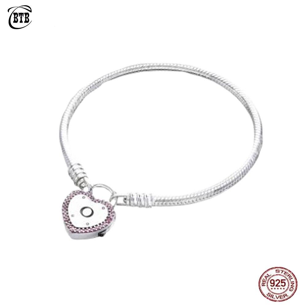 Authentique 925 argent Sterling Original PAN Lock votre promesse Bracelet avec Logo Original pour les femmes breloque bijoux à bricoler soi-même