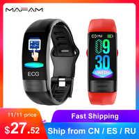 MAFAM P11 ECG Intelligente della vigilanza della fascia Monitor di Frequenza Cardiaca di PPG Braccialetto Intelligente di Pressione Sanguigna Orologio 2019 Più Nuovo Impermeabile Wristband
