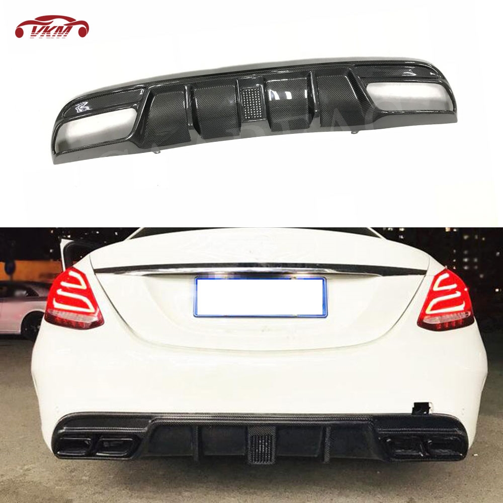 Carbon Fiber <font><b>Rear</b></font> Bumper Lip With LED Light for Benz C class W205 4 Door C180 C200 <font><b>C300</b></font> C63 2015- 2019 4 outlet <font><b>Rear</b></font> <font><b>Diffuser</b></font> image