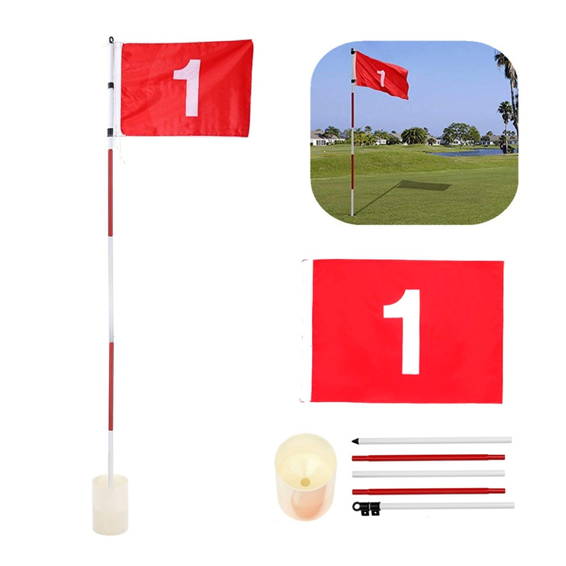 1 Set Golf Hole Cup + Golf Flagpole + Flag Backyard Practice Golf Hole Pole Cup Flag Stick 5 Section