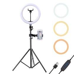 Светодиодный кольцевой светильник 10 дюймов с триподом 160 см для сотового телефона, мини-светодиодный кольцевой светильник для камеры, для в...