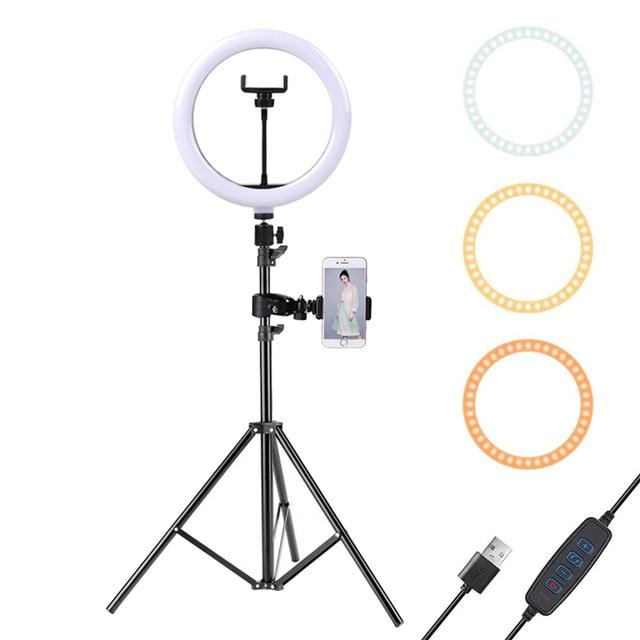10インチledリングライトと110センチメートル三脚携帯電話ミニledカメラビデオ写真撮影のためにリングライトガーデンライトメイクyoutubeブロガー