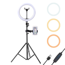 10Inch Led Ring Licht Met 110Cm Statief Voor Mobiele Telefoon Mini Led Camera Ringlicht Voor Video Fotografie Make Up youtube Bloggers