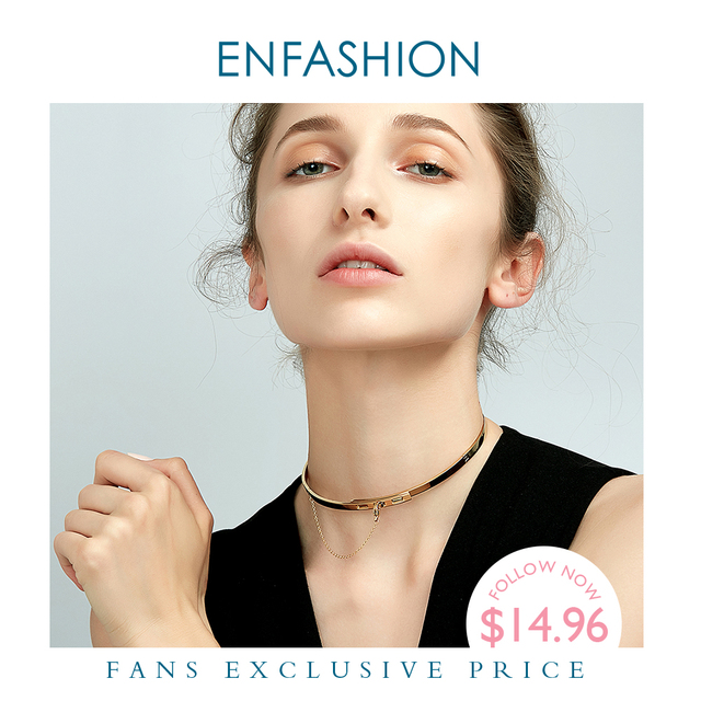 Enfashion سلسلة أمان المختنقون القلائد المعلقات الذهب قلادة ملونة الفولاذ المقاوم للصدأ المختنق قلادة للنساء مجوهرات كولير