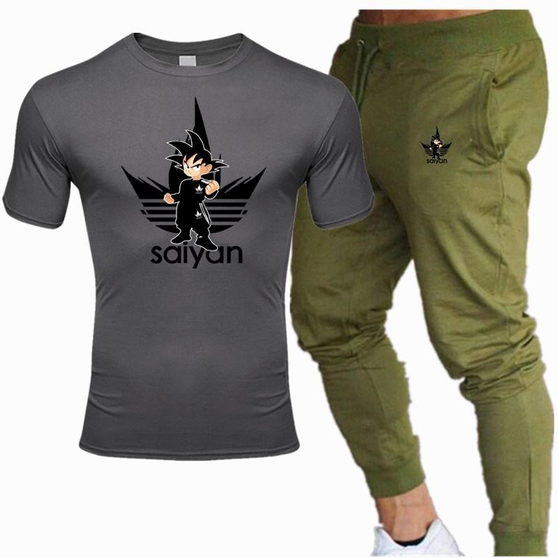 Summer 2020 Men's Cotton T-shirt + Trousers Two-piece Casual Sport Suit New Men's Casual T-shirt Fitness Trouser Suit
