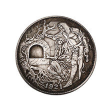 1921 US Hobo Coin Man And Woman Commemorative Coin Brass Silver Plated Crafts Home Decoration Gifts Collect Coins 1Pcs