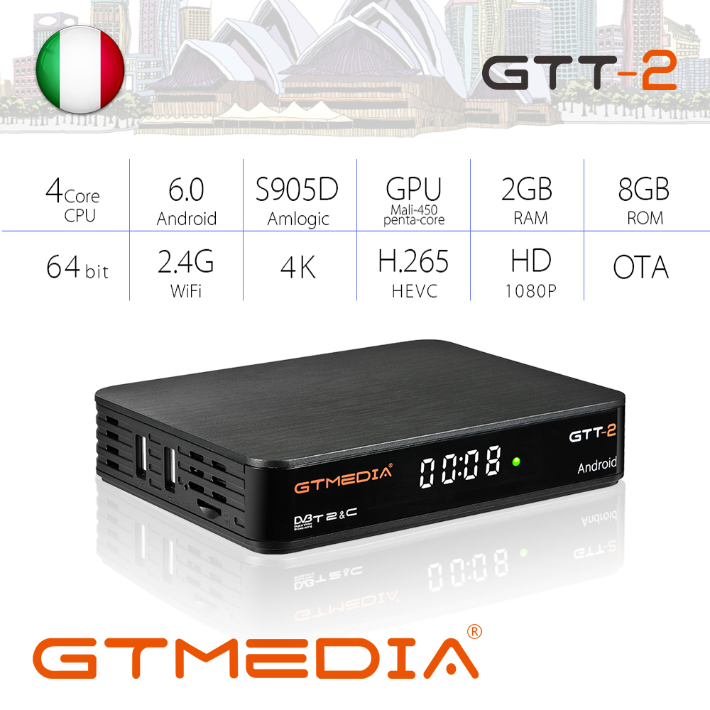 GTMEDIA GTT2 Smart Tv Box DVB-T2/Cable(J83.A/C)/ATSC-C/ISDBT Android 6.0 2GB 8GB 4K H.265 WiFi IPTV Easy To Operate Android Box