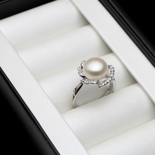 White Natural Pearl Ring For Women,black Wedding Real Freshwater Pearl Ring Adjustable Lady Birthday Gift