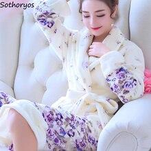 Batas Albornoz largo de franela con flores para mujer, Kimono abrigado de baño para damas de honor de boda, bata de noche para mujer 2020