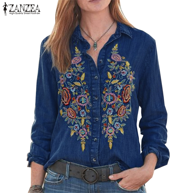 ZANZEA Women Vintage Embroidered Buttons Down Shirts Autumn Long Sleeve Denim Blouse Casual Lapel Neck Top Work Blusas