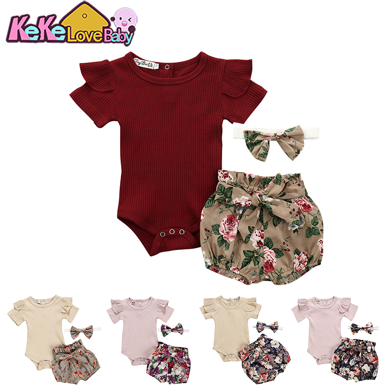 Newborn Baby Girl Clothes Summer Fashion Pink Outfit Set Bodysuit+Flower Shorts+Headband For New Born Infant Baby Clothing Sets