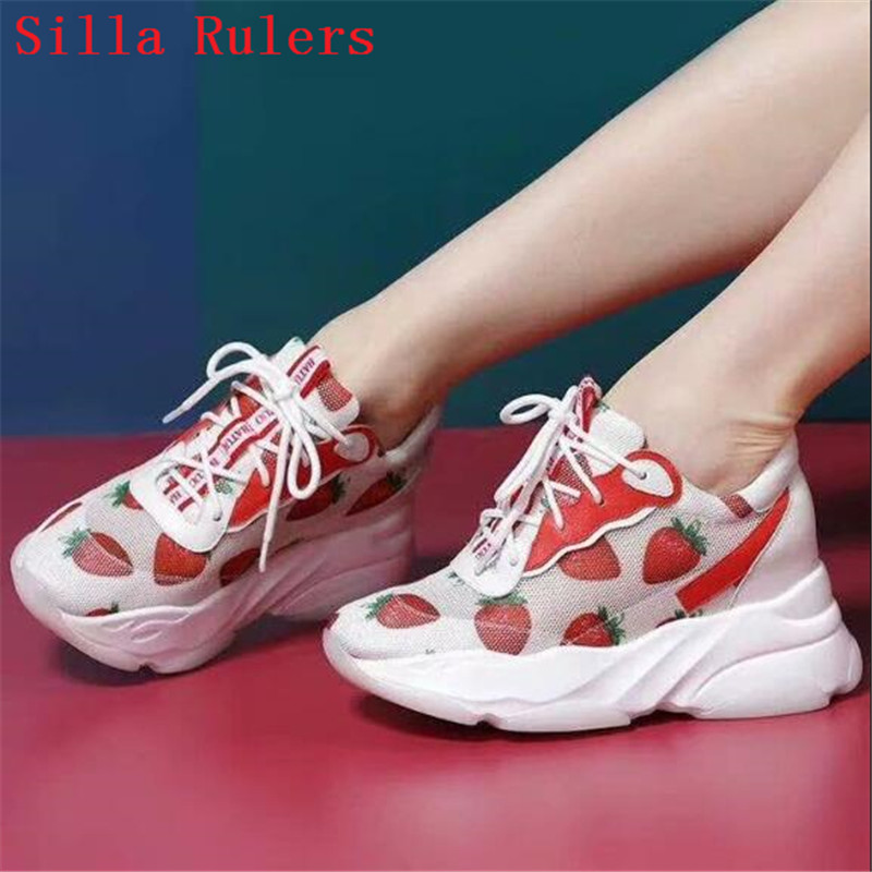 Strawberry summer shoes woman sneakers platform women's shoes small white shoes casual net shoes women's breath air mesh