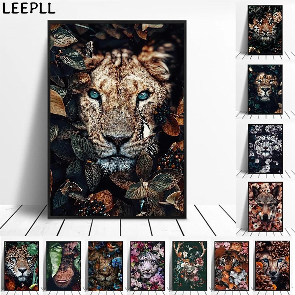 Animais em flores pintura em tela arte da parede leão cartaz tigre elefante alce orangotango imagem moderna clássica pintura decorativa